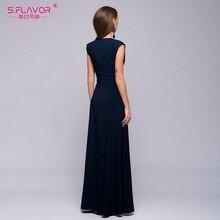 Womens Beautiful Long Dress Sleeveless Vestidos  V-Neck by Flavor