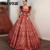 Long Arabic Red Evening Dress 2019 Feathers kaftans Dubai Formal Prom Gowns Vestido Formatura Longo Glitter Couture Party Dress