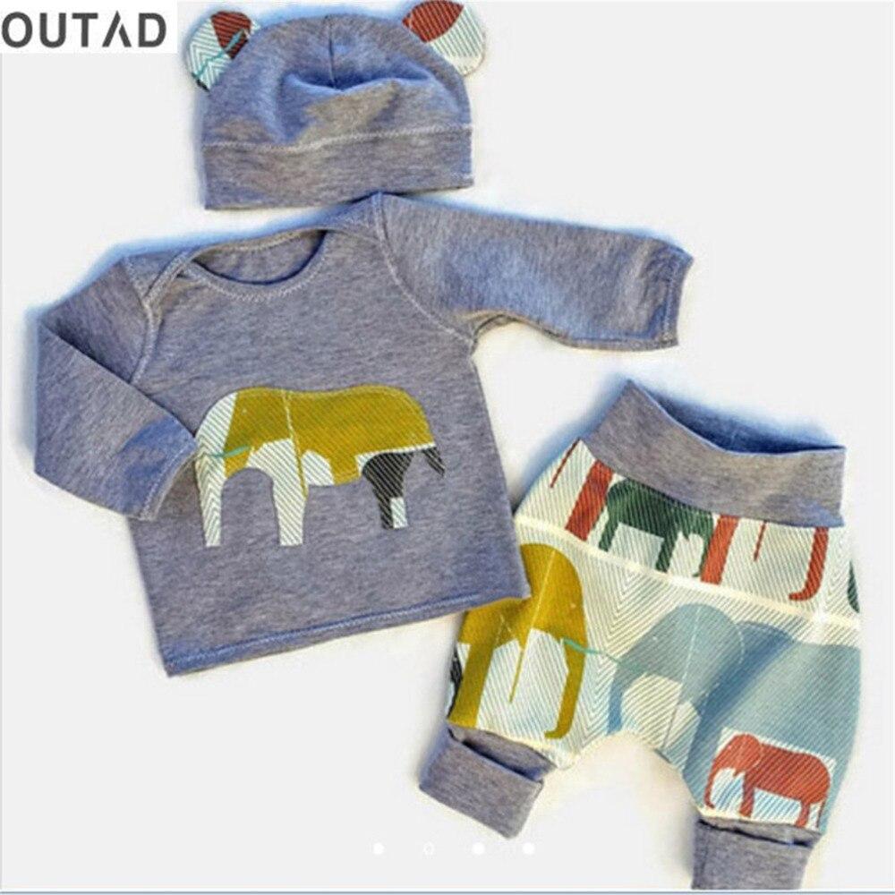 OUTAD 3 шт. одежда для маленьких мальчиков и девочек комплект осенняя одежда Младенческая слоненок с принтом Топ и штаны + шляпа Детские наряды ...