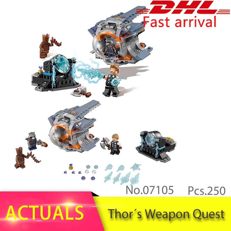 Lepin 07105 250pcs Super Heroes Series Thor's Weapon Quest  Set Model Building Block Brick Toys Gift compatible 76102 lepin 22001 pirate ship imperial warships model building block briks toys gift 1717pcs compatible legoed 10210