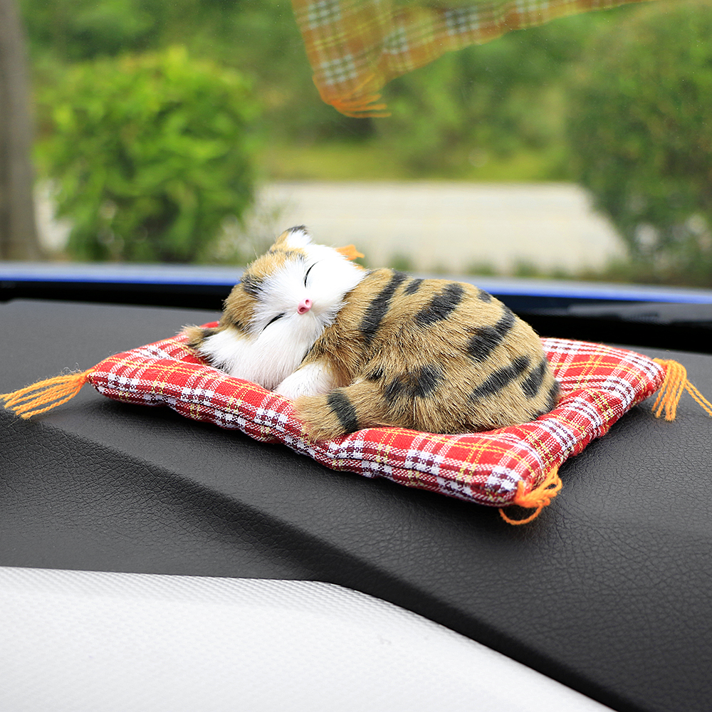 Купить с кэшбэком Car toy Ornaments Cute Simulation Sleeping Cats set Decoration Automobiles Lovely Plush Kittens car cute  Doll Toy cat Children