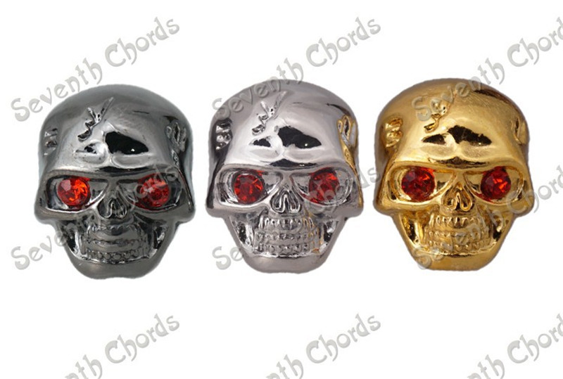 2 X Metal Skull Head Volume Tone Control Knobs for Electric Guitar Bass Replacement Parts
