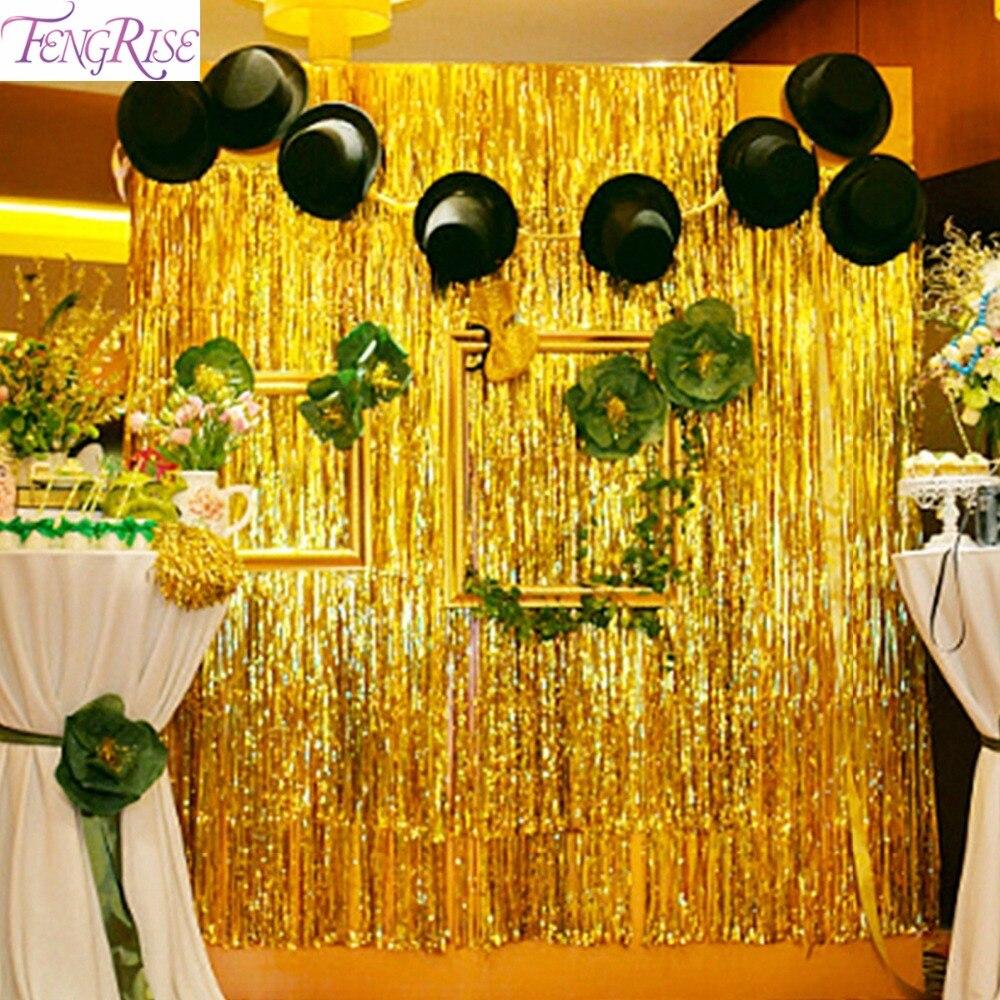 FENGRISE 1x2 3m Gold Foil Fringe Curtain Tinsel String