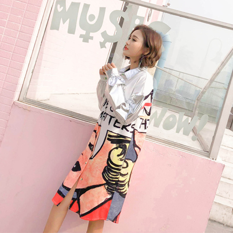Moda Collar Primavera Cartoon Camisas Blusa Oversize Down Picture Z133 Larga Turn Carta Color Femenina Manga Imprimir Plateado Mujeres Loose YRwYq8