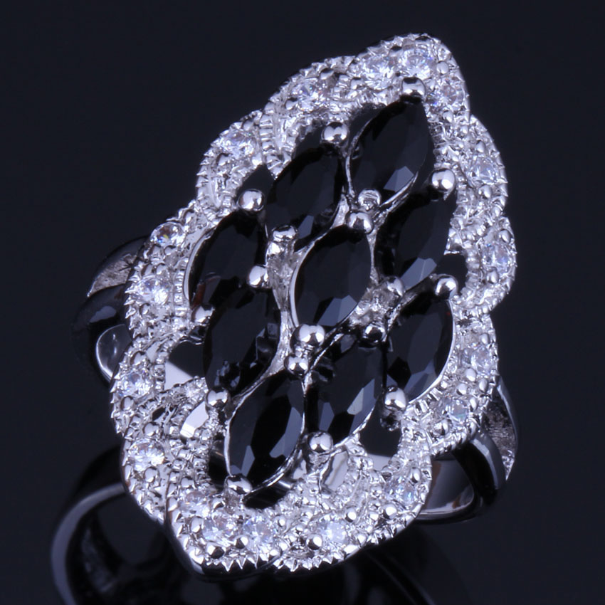 Good-Looking Oval Black Cubic Zirconia White CZ 925 Sterling Silver Ring For Women V0592