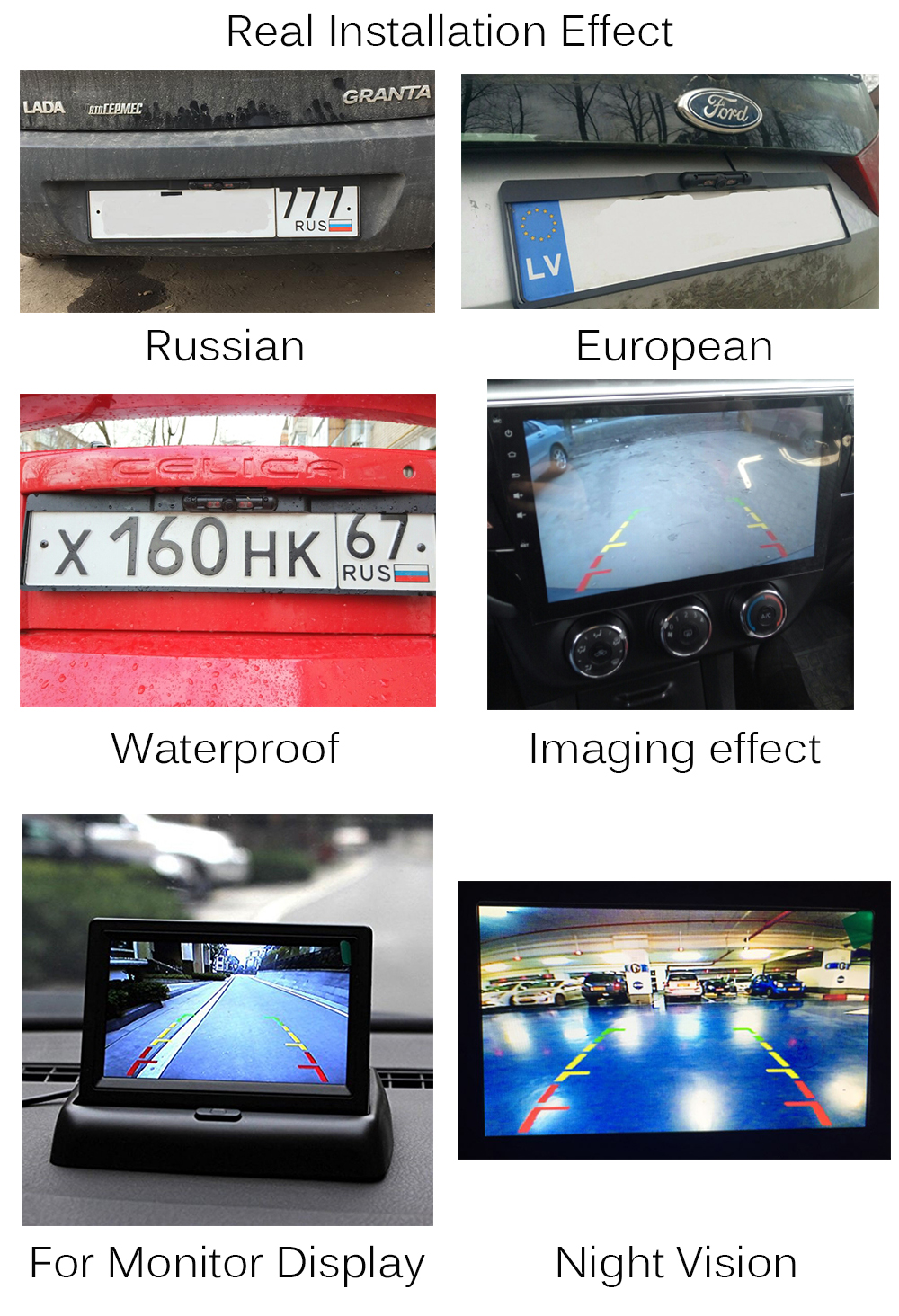 Auto Parktronic Eu Car License Plate Frame Wireless Hd Night Vision Camera Wiring Diagram Wired Rear View For Connecting Dvd Stereo