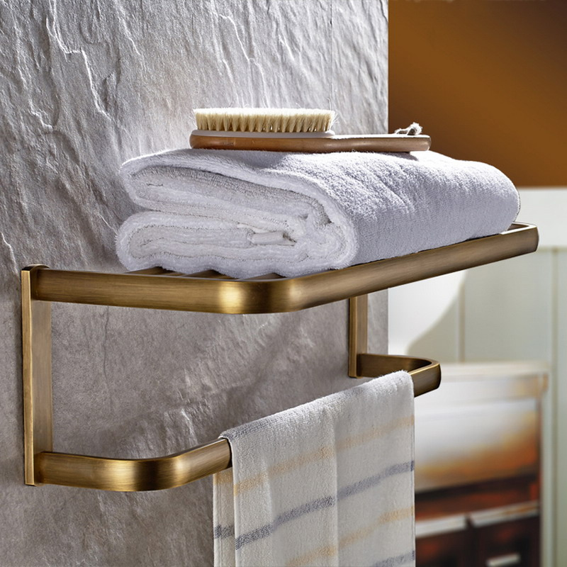 Antique Brass Square Bathroom Wall Mounted Towel Rail Holder Shelf Storage Rack Double Towel Rails Bar KD900