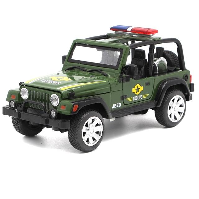 Niños 1:32 Diecast Metal Vehículos Wrangler Tire Volver acustóptica Simulación de Aleación de Coche de Policía Modelo de Coche Mini Intermitente Oyuncaklar