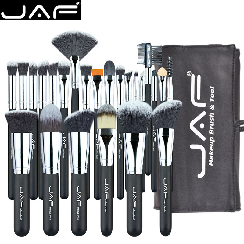 JAF 24pcs Makeup Brushes Tools 100% Vegan Make Up Artist Kit Brushes for Makeup Professional Brush Set #J2425YC B-in Eye Shadow Applicator from Beauty & Health