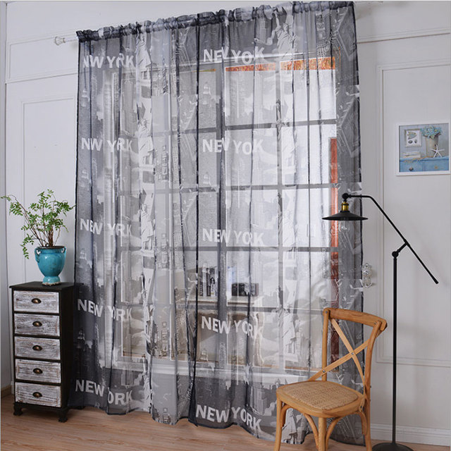American New York Free Goddess Curtain Print Hemp Gauze Curtain Living Room  Window Tulle Curtains Curtains