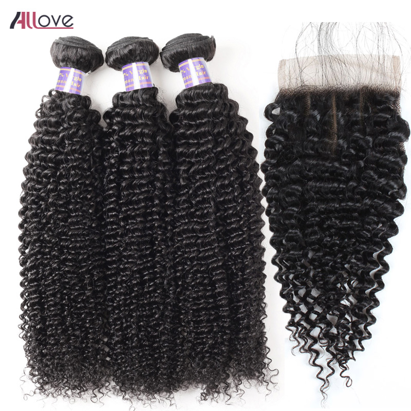 Allove Malaysian Curly Hair Bundles With Closure Baby Hair Lace Closure Human Hair With Bundles 3pcs