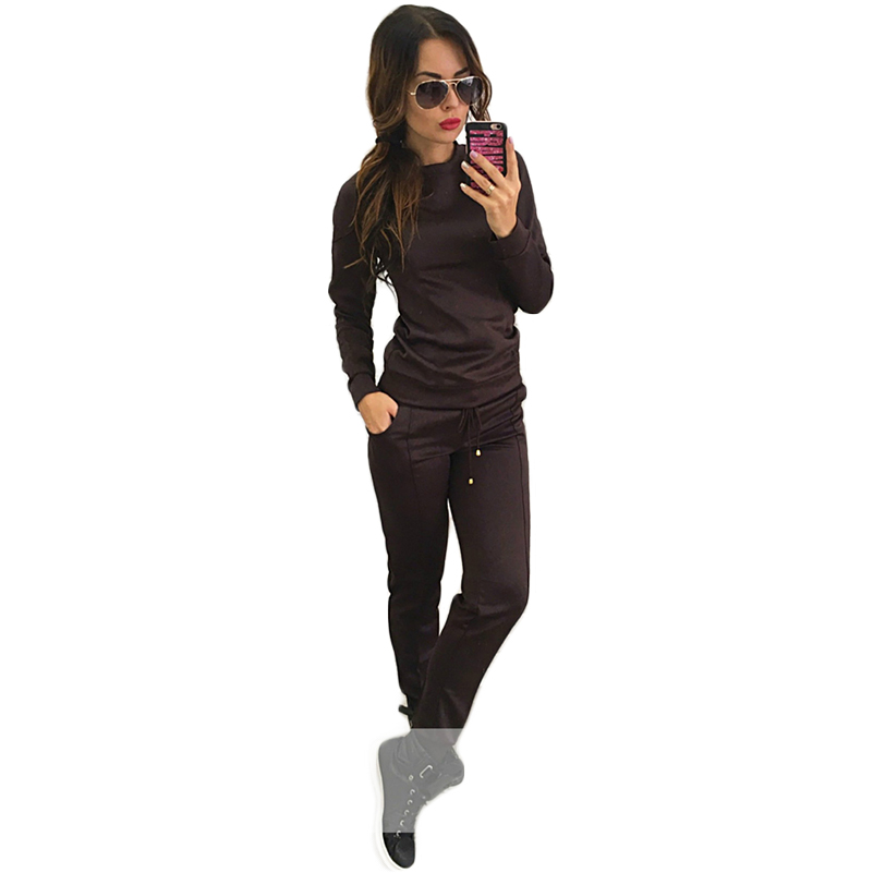 Solid Red 2 Two Piece Set Top And Pants Drawstring O-neck Tracksuit Women Hoodies Warm F ...