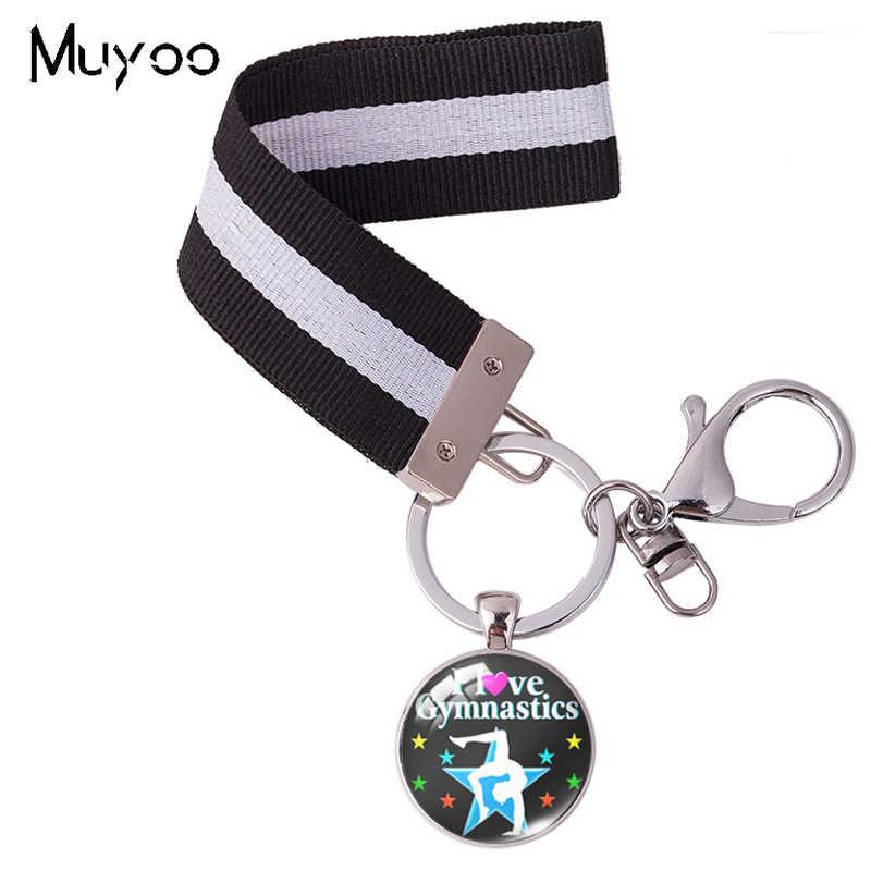 J'aime la gymnastique citations verre dôme pendentif coloré ruban porte-clés main artisanat sac voiture poignet titulaire porte-clés cadeaux