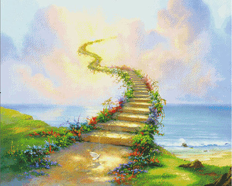 5d needlework diy diamond painting cat dog heaven rainbow bridge