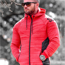 b89386cdcb979 秋メンズランニングジャケットフィットネス冬スポーツトップベースコート屋外トレーニングジョギングジムフード付きジッパー