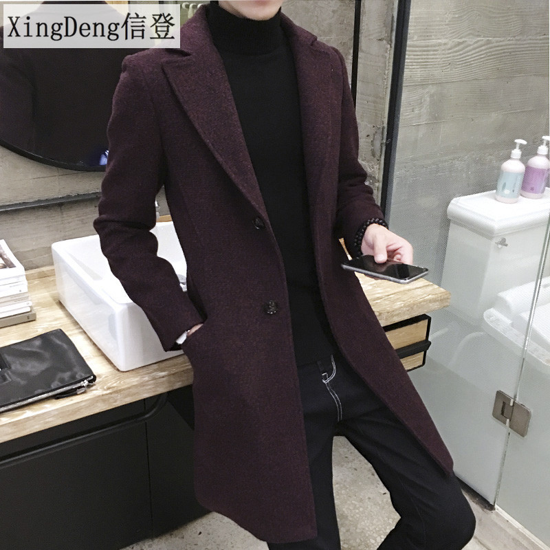 XingDeng Long Casual top Men's Thick Wool Trench warm Coat Lapel Collar Spring Autumn