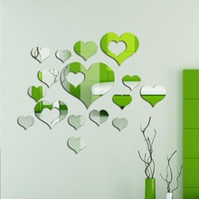 Free shipping 3d acrylic wall stickers mirror heart love fashion mirror sticker home decor for wedding room bedroom living room(China)