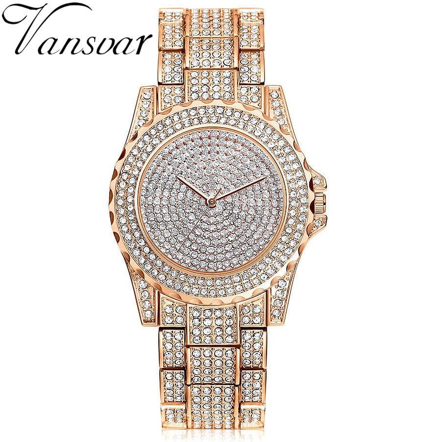Vansvar Brand Women Stainless Steel Alloy Wristwatches Rose Gold Luxury Women Dress Rhinestone Crystal Quartz Watch Female Clock