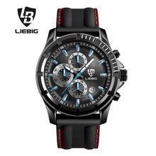 LIEBIG Hommes Mode Quartz Montres Calendrier Complet 50 M Étanche Bracelet En Silicone Sport Montres Relogio Masculino SX161016