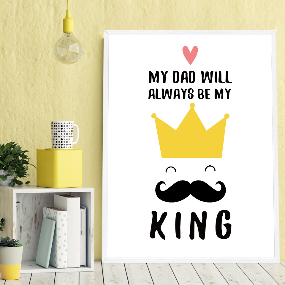Cartoon Poster Girl Moustache Crown Hat Wall Art Canvas Picture ...