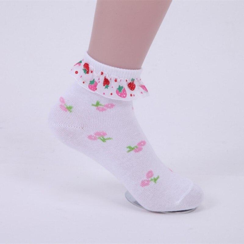 1 Pairs Girls Socks Autumn Winter Fashion Cotton Cherry Lace Socks For Girls 3-12 Years Children Socks