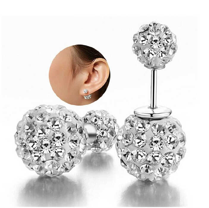 New  Earrings Rhinestone Double Ball Crystal Stud Earrings For Women Fashion Jewelry brincos para as mulheres