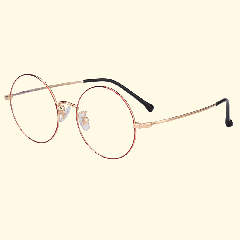 New Pure Titanium Glasses Frame Metal Round Frame Myopia Frame Retro Art Round Flat Mirror Ladies