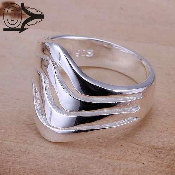 Christmas Gift Wholesale Silver-plated Ring,Silver Fashion Jewelry,Women&Men Gift Silver Water Ripples Finger Rings Top Quality