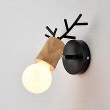 Nordic Vintage Antler Wall Lamp Contemporary Art Dec Black White Wood Light Sconce Bedside Reading Adjustable Arm