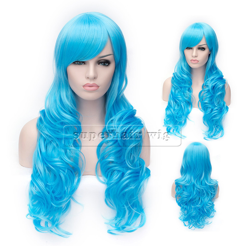 Hot Cheap Wig Trendy Fashion 100% Kanekalon light blue wig big wave female elegant wigs wavy high quality synthetic wig free shipping xc3020 70pg84m new original and goods in stock