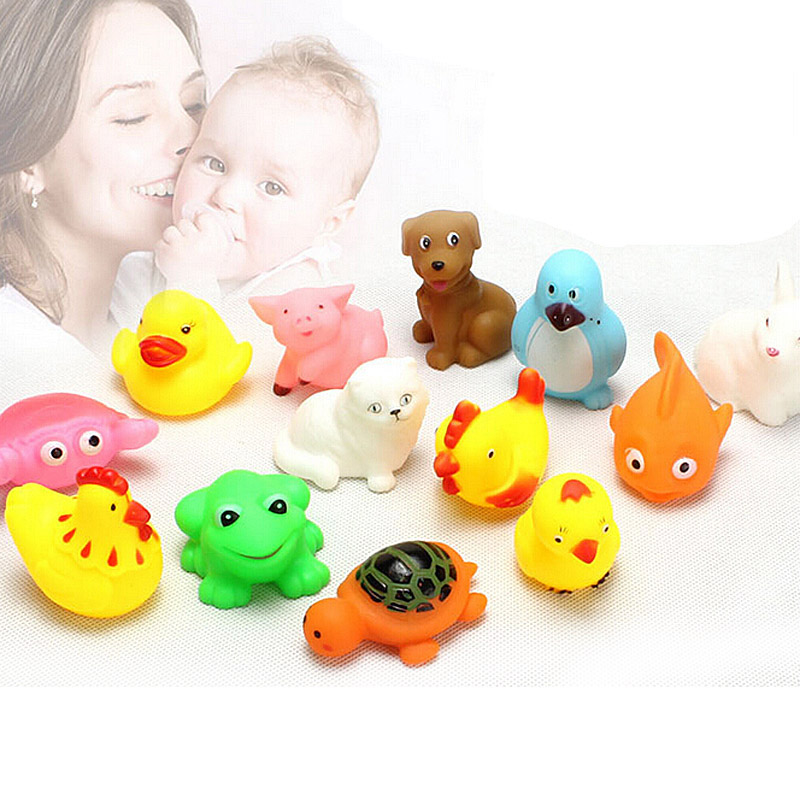 12PCS Lovely Rubber Animals With Sound Toys for font b Baby b font Shower Bath Random