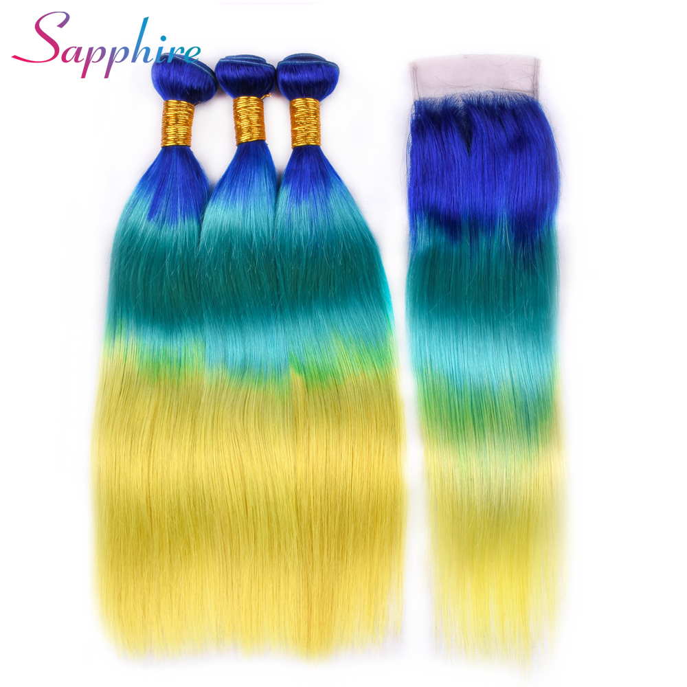 Sapphire Straight Ombre Human Hair Bundles with Lace Closure Blue/Green/yellow Ombre Brazilian Straight Human Hair With Closure