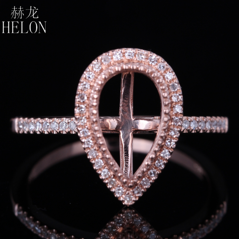 HELON Pear 6x10mm Solid 10k Rose Gold Semi Mount Engagement Ring Wedding Real Natural Diamonds Ring Women Trendy Fine JewelryHELON Pear 6x10mm Solid 10k Rose Gold Semi Mount Engagement Ring Wedding Real Natural Diamonds Ring Women Trendy Fine Jewelry