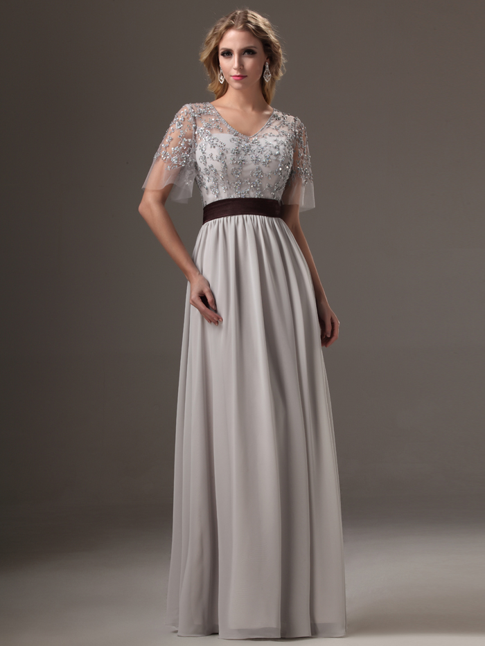 2017 Real Silver Long Bridesmaids Dresses With Sleeves Beaded Lace ...