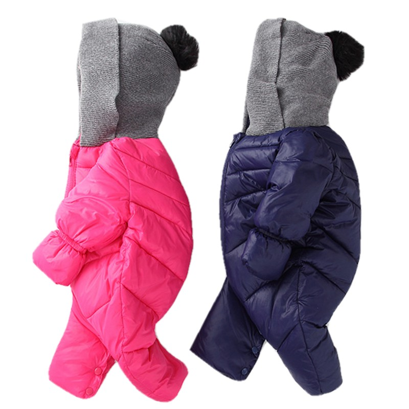 Baby Rompers Newborn Winter Hood Clothes Boys Girls One Piece Jacket Toddler Coverall Snowsuit Kids Duck Down Long Sleeve Coat cotton baby rompers set newborn clothes baby clothing boys girls cartoon jumpsuits long sleeve overalls coveralls autumn winter