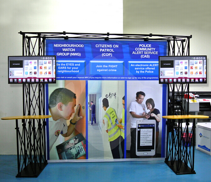 Trade Show Booth Truss Displays with 2 Counters, Tension