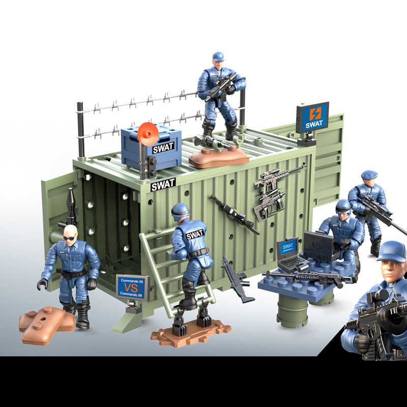 1:36 scale military city super police action figures mega building block swat 4in1 Anti-terrorism Command weapon bricks toys
