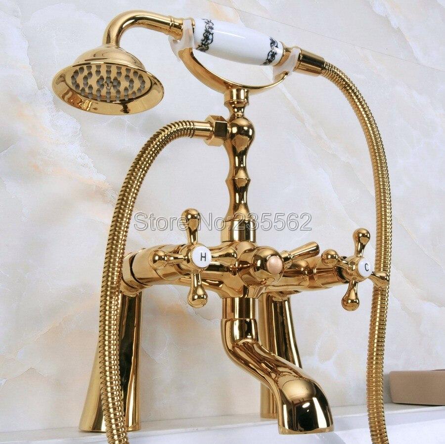 Robinet de baignoire en laiton couleur or avec douchette lna150Robinet de baignoire en laiton couleur or avec douchette lna150