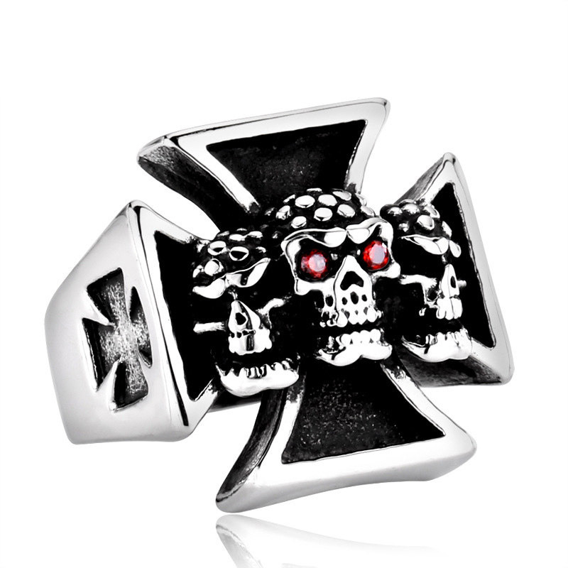 Stainless steel round Skull Cross Rings Motorcycle party Punk Men Rings Jewelry