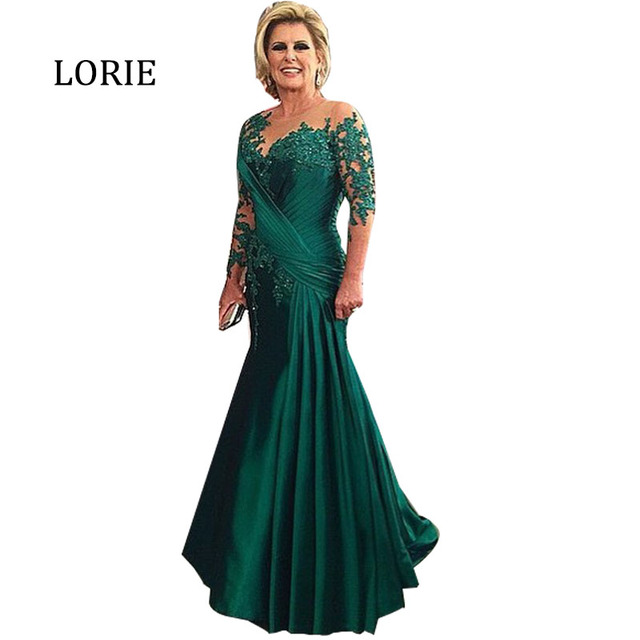 5ea7b561183 Emerald Green Formal Evening Dresses Plus Size Mermaid Pleats Half Sleeve  Chiffon Mother of the bride vestido de noite longo. Price