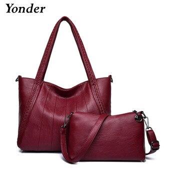 Yonder handbags women bags genuine leather shoulder bags female luxury tote bag high quality designer samll messenger purse wine tote bag
