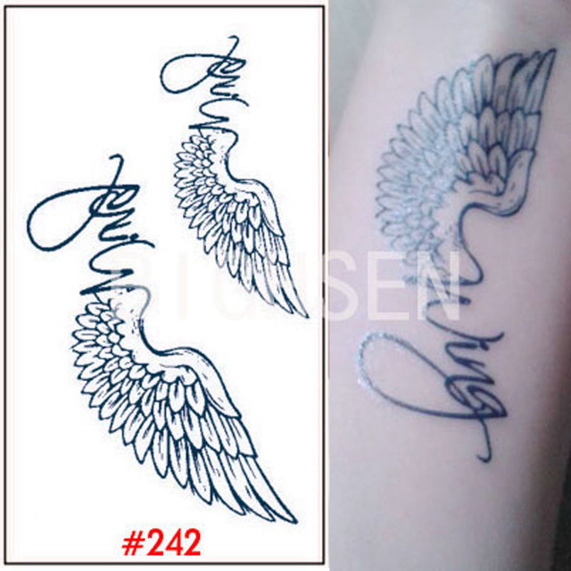 1x Temporary Wing Tattoos Angel Wings Temporary Tattoo For Leg Black