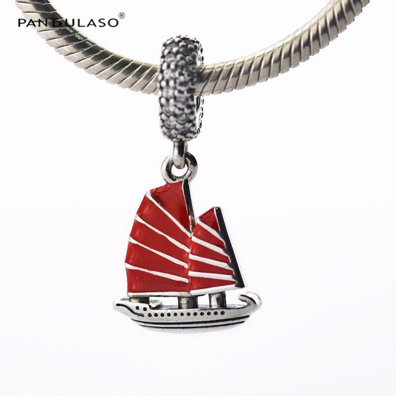 Pandulaso Jonque Chinoise Le Bateau Rouge Émail Cristal Perles Fit Charms Argent 925 D'origine Bracelets DIY Charme Perles pour Fabrication de Bijoux