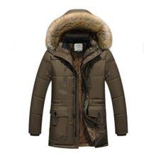 2017 Fashion Winter jackets mens plus size plus cotton wool liner warm parka in the long coats solid color casual loose jackets