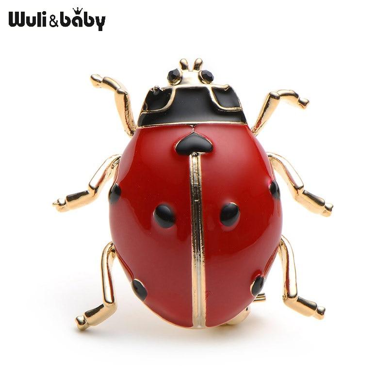 Lengvojo lydinio raudona ir juoda emalio beetle ladybug sagė aukštos kokybės vyrų ir moterų kostiumai megztinis skrybėlę insektų sagės smeigtukai šalikas sagtys