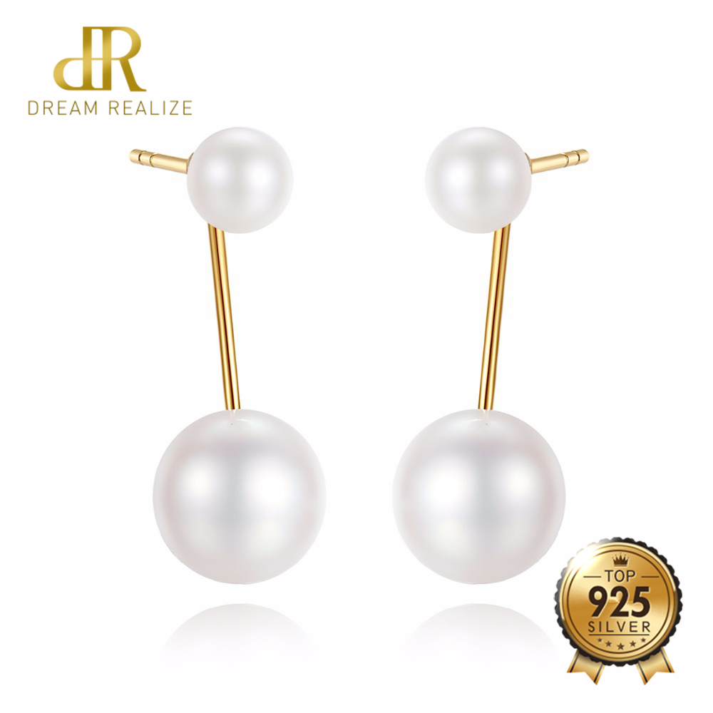 DR 6.5-7mm Freshwater Pearl With With Fine Tear Drop Pearl Dangle Earrings 18K Gold Drop Earrings Fine Jewelry For Girl faux pearl rhinestoned oval drop earrings