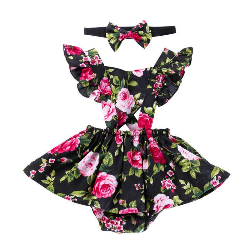 여름 새 아기 소녀 귀여운 아름 다운 슬링 드레스 코 튼 로즈 인쇄 비행 슬리브 슬링 스커트 투투 드레스 romper + 머리 띠 2pcs
