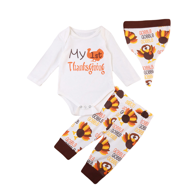Thanksgiving Baby Clothes Set 3pcs Fall Newborn Baby Boy Girl Top Romper Pants Hats 2017 ...