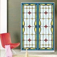 Custom Size Self Adhesive Window Glass Films Sticker Paper Door Stickers Vintage European Style Art Translucent