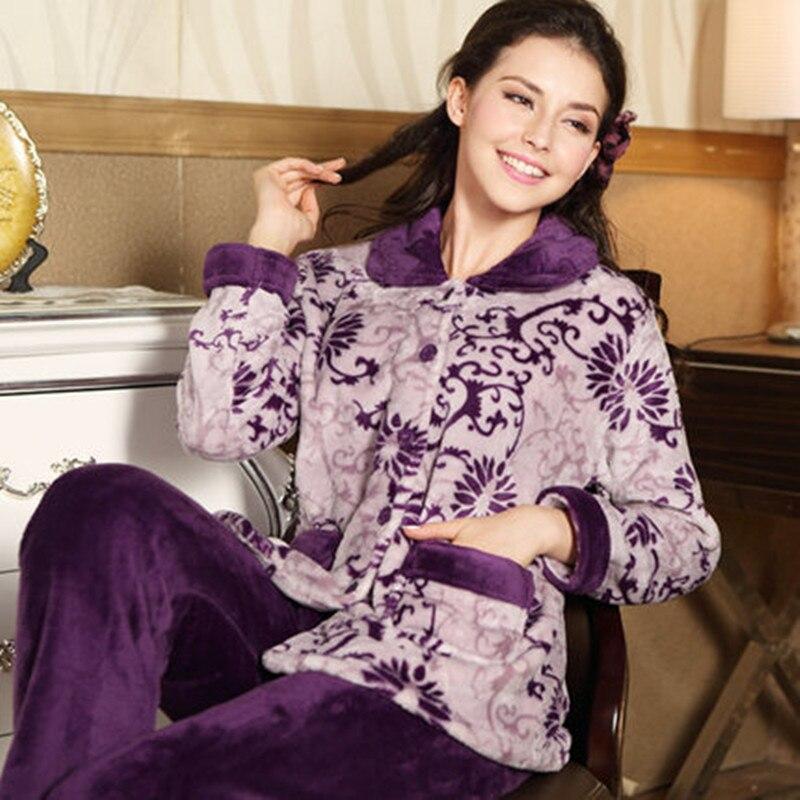 Hot Sale Autumn Flannel Women Pajamas Sets Female Turn-down Collar Full Sleepwear For women's Pajamas Winter Home Suits Pyjama
